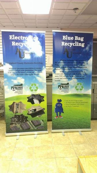 [Image: Retractable banners are a cost effective way to display your information at trade shows, store fronts, and more. They are easy to install and your graphics can be replaced repeatedly. ]