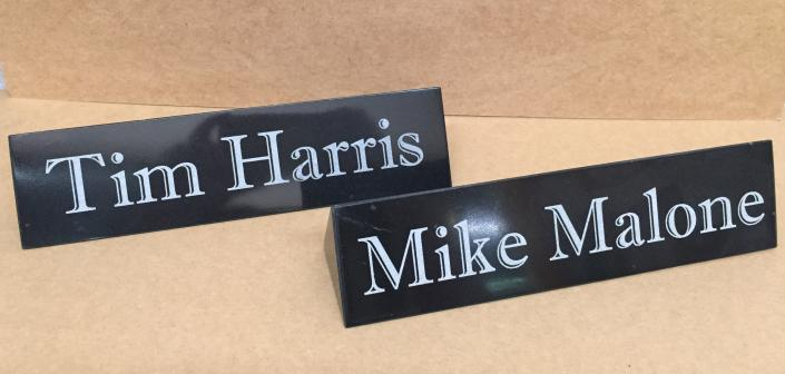 [Image: Engraved marble name bars look elegant on any desk or counter. ]