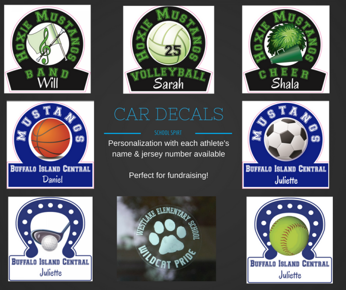 Removable car decals are a great way to show your school spirit and also a great option for fundraising!
