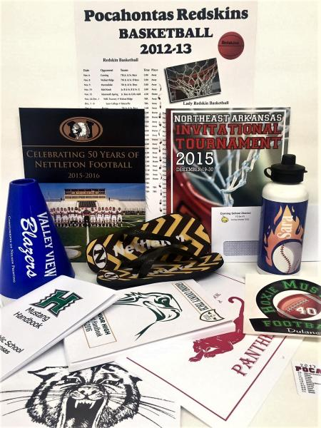 [Image: We print a wide array of products for schools and athletic teams: handbooks, posters, schedule cards, car decals, banners, sports programs, athletic programs, fundraiser coupons, and more!]