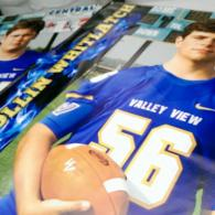 Our vinyl banners are printed on 13 oz vinyl and have hemmed edges and grommets. These are great for businesses, events, and even to celebrate senior athletes!