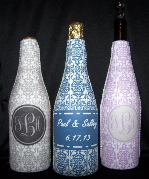 [Image: Wine bottle huggers make great gifts.]